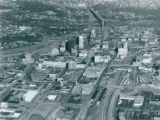 Aerial photograph looking North over Downtown Akron, 1988