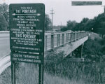 Sign and bridge over the Ohio Canal on Manchester Road marking the Portage Path, 1969