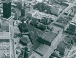 Aerial Photograph of Downtown Akron, looking East over O'Neils Building, 1985