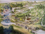 Drawing of the canal running along the front of the Mustill Store.